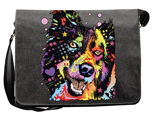 Lässige Umhängetasche mit einem Border Collie Hunde Motiv! Das Multitalent - Tasche für Schule, Beruf, Urlaub, Freizeit, Notebook, Tablet
