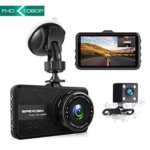 Apexcam Dashcam Front und Rück Lens Fahr Recorder 3-Zoll-IPS 1080P Ultra HD 170° Weitwinkel Auto Kamera G-Sensor WDR Loop-Aufnahme DVR Parkmonitor Nachtsicht