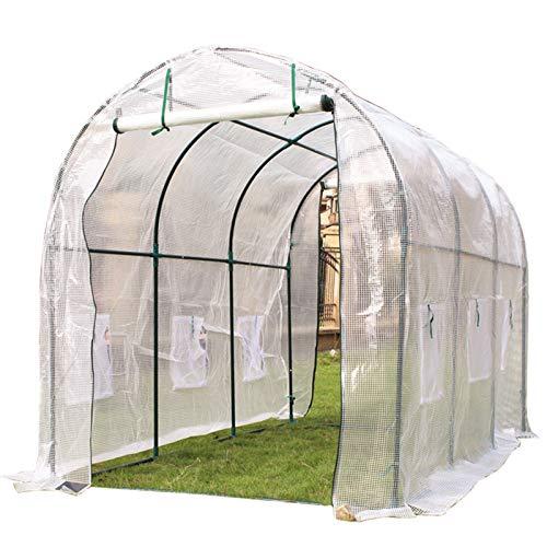 ERRU Invernadero Grande 6m 5m 4m 3m 2m Invernadero de Cultivo de Tomate, Tienda de Campaña Al Aire Libre Polytunnel con Ventanas de Observación, Estructura de Acero de 19mm (Size : 400cm/13.1ft)