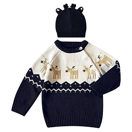 De feuilles Chic-Chic Pull Garçon Fille Père Noël Bonnet Pull-Over Tricot Sweater Knitting Imprimé Sweat-Shirt Cute Chaude Hiver 2ans Bleu