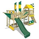 WICKEY Spielturm Klettergerüst Smart Cruiser mit Schaukel & grüner Rutsche, Baumhaus mit Sandkasten, Kletterleiter & Spiel-Zubehör