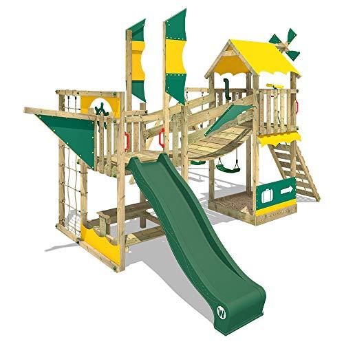 WICKEY Speeltoestel Smart Cruiser met schommel en groene glijbaan, Houten speeltuig, Klimtoestel voor buiten met zandbak en klimladder, Speelhuis voor kinderen