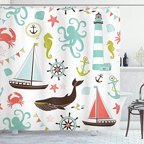 Ambesonne Nautical Shower Curtain, Pastel Colored Composition of Lighthouse Sailboat Fish Shells Octopus and Anchor, Cloth Fabric Bathroom Decor Set with Hooks, 70' Long, Coral Turquoise