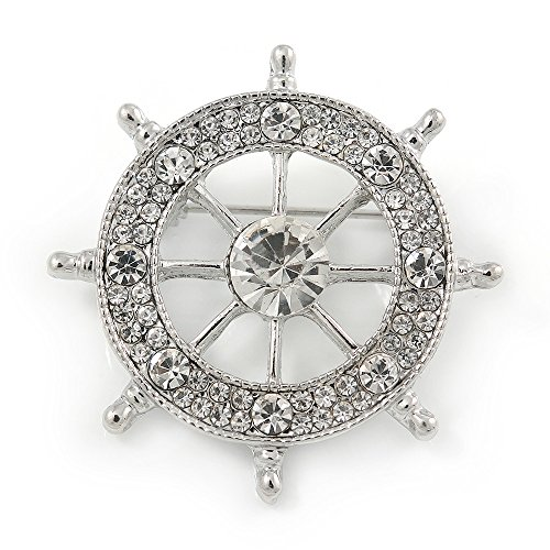 Avalaya Silver Plated Clear Crystal Ship's Steering Wheel Brooch - 35mm D