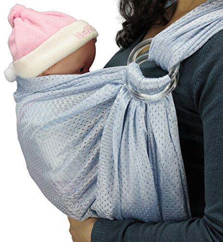 Baby Wassersling Badesling Ringsystem Ring Slim Carrier Tragetuch Bauchtrage (Hellblau)