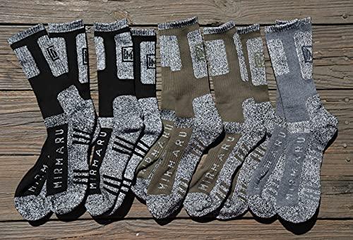 MIRMARU M201-Men's 5 Pairs Multi Performance Outdoor Sports Hiking Trekking Crew Socks (2Black, 2Char, 1Olive)