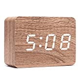 Wooden Alarm Clock, Electronic Digital Adjustable Brightness Desk Alarm Clock with LED Display Time Date and Temperature,for Home Office Daily Life(Rectangle)
