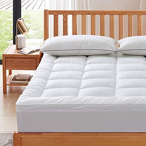 SUFUEE Mattress Topper King 400TC Cotton Mattress Pad with Deep Pocket - Extra Thick 2' Thick Quilted Pillow Top Down Alternative Fill