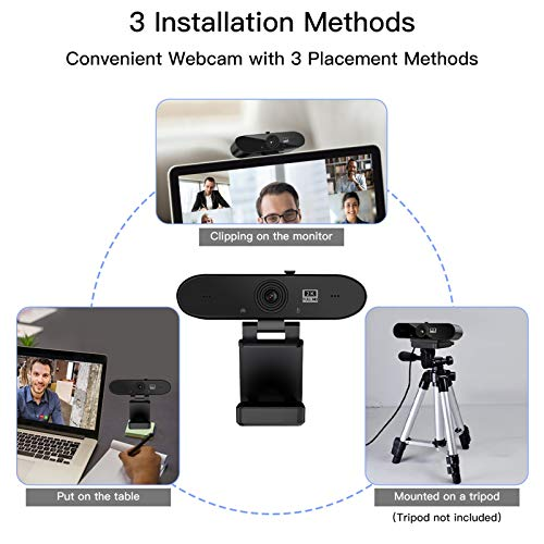 Webcam PC con Micrófono,1440P/30fps 2K Cámara Web,Webcam USB con Autoenfoque y Corrección de Luz para Videollamadas,Clases Online,Videoconferencia y Transmisión en Vivo,Windows/Mac OS/Android miniatura