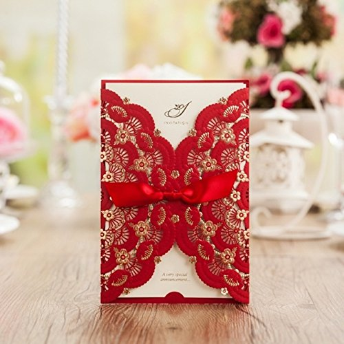 Red Lace Flower Invitation Cards Laser Cut Hollow-Out Floral with Ribbon Bow Wedding Announce Invitations CW5113 (10)