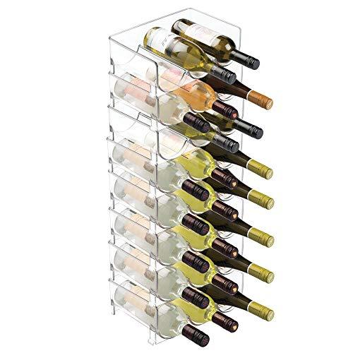 mDesign Juego de 8 botelleros para nevera para guardar 3 botellas cada uno – Botellero apilable de plástico para vino y otras...