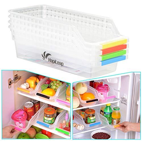 HapiLeap Kühlschrank Storage Organizer - Kühlschrank Aufbewahrungsbox Schubladen Pantry Container Stackable Kühlschrank Container - Perfekt für kleine Gewürze, Milchprodukte (4 Pack)