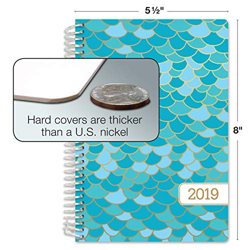November 2018 Through December 2019 Bonus Bookmark Mermaid Scales HARDCOVER Calendar Year 2019 Planner: 5.5x8 Daily Weekly Monthly Planner Yearly Agenda Pocket Folder and Sticky Note Set