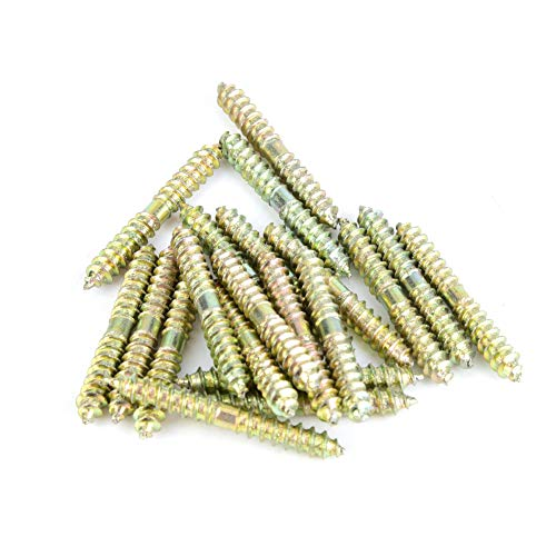 Hyuduo 20pcs 540mm Dowel Screw Iron Double Ended Screw Zinc Plating Self-Tapping Thread Screw Wood to Wood Dowel Screw Connecting Wood