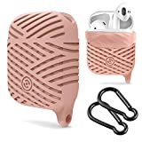Compatible AirPods Case, NaHai Soft Silicone Case Water Resistant Shock Proof Protective Cover for AirPods Charging Case (Sand Pink)
