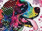 N-L Pintura por números para Adultos Decoración del hogar Imágenes por números Pintura sobre Lienzo Lengua de Color Perro Que sobresale 16 * 20 Pulgadas Sin Marco