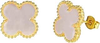 Women Black Onyx 18K Gold Plated Four Clover Charm Stud Earrings /4 Leaf Clover Stud Earrings,925 Sterling Silver 4 Color Flower Shape Fashion Stud Earrings