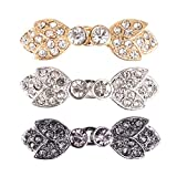 YiZYiF 3 Pairs Women Shiny Crystal Decorative Sew On Hooks and Eyes Cardigan Clips Cape Cloak Clasps Fasteners Type D One Size