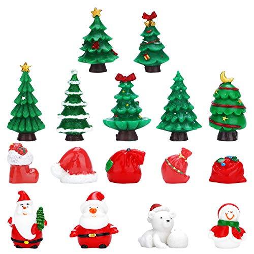 Herefun 16 Pezzi Ornamenti Miniatura Natale, Natale Micro Landscape Babbo Natale Alberi di Natale Giardino Miniatura Natale Micro Landscape Ornament Decor Miniatura Ornamenti Decorazione