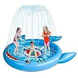LFTS Cojín de Salpicaduras de tiburón Inflable,niños al Aire Libre Play Mat del césped Sprinkler Backyard Trampoline Party Fountain Wading Pool
