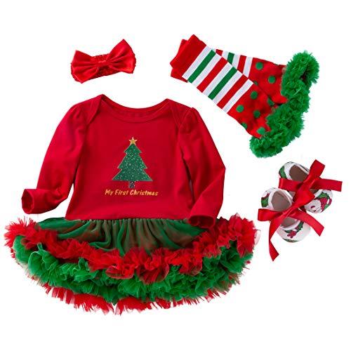 FEOYA - (juego de 4)Falda Bebés Tutú Niñas Vestido Traje de Navidad Tutú para Recién Nacidos con Mangas Largas Venda de Pelo y Calcetines para Fiesta Ceremonia con Dibujo - Navidad Rojo - XL(12-24Mes)