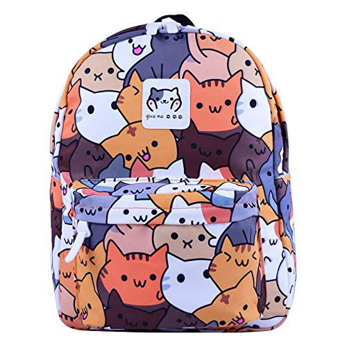 Unisex Neko Atsume School Backpack Cute Cartoon Print Backpack Canvas Backpack Casual Backpack