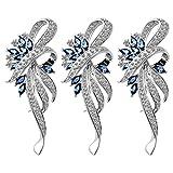 Mecool Crystal Fancy Vintage Style Broche para Mujeres, niñas, Damas, Azul Color-3 Piezas