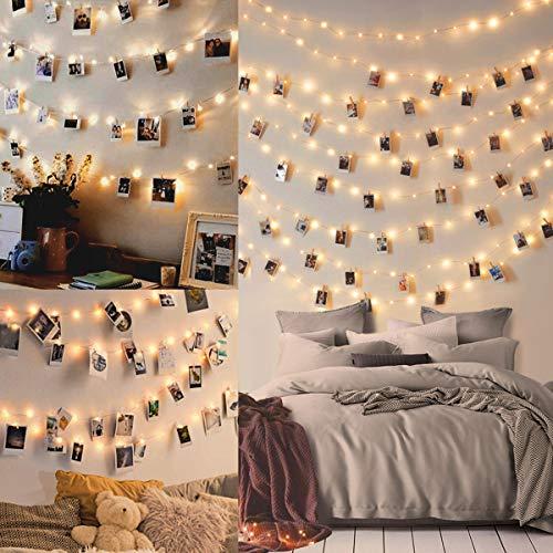 WEARXI Lichterketten für Zimmer Deko - 10M 100 LED Foto Lichterkette mit Klammern für Fotos, Lichterkette Bilderrahmen collagen, Dekoration Wohnung Modern, innen, Haus, Weihnachten, Hochzeit