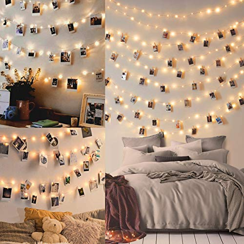 10M 100LED Fairy Lights Bedroom - Led Photo Clip String Lights Collage Photo Frames Polaroid Peg String Lights Photo Peg Lights (50 Clip & 20 Nails)