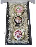 Caja de Regalo Gourmet con Patés de Paté Ibérico, Jamón York y Queso Curado de 110 g cristal en caja de cartón negra resistente con pasto decorativo