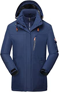 HILEELANG Men's Mountain 3 in 1 Waterproof Insulated Ski Snow Interchange Jacket Rain Coat