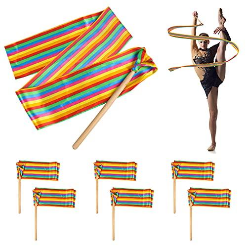 6 Piezas Cintas de Danza Streamers Arcoíris, Cintas de Baile Niña Cinta para Gimnasia Rítmica, Bailando Bastones de Gimnasia Cintas, Varitas Cinta Serpentina Danza Cinta con Varillas Baile Artístico