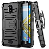 E-Began Case for Wiko Ride (W-U300), AT&T Radiant Core (U304A) /Cricket Icon with Tempered Glass Screen Protector, Belt Clip Holster Kickstand Shockproof Protective Heavy Duty Armor Case (Black)