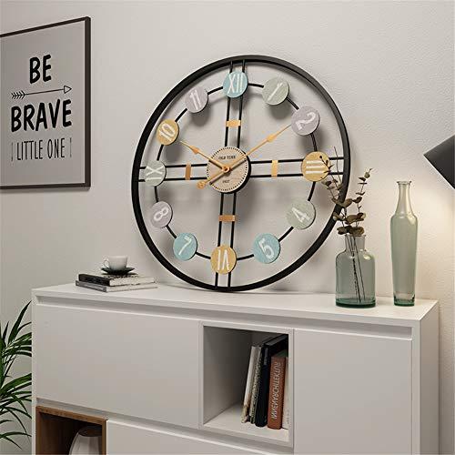 Reloj de Pared Redondo Grande Reloj de Metal Silencioso Retro Equipo Decorativo 3D con Números Romanos para Loft Dormitorio Sala de Estar Bar Café (Negro,60 cm)
