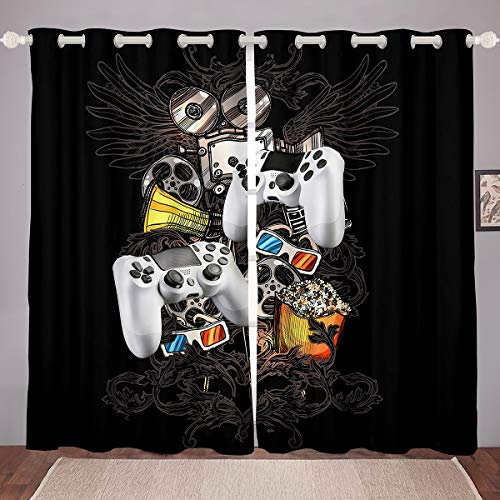 Gamepad - Cortinas modernas para consola de videojuegos, para niños, niñas, adolescentes, decoración de dormitorio, megáfono, gafas 3D, cortina de ventana de 46 x 72