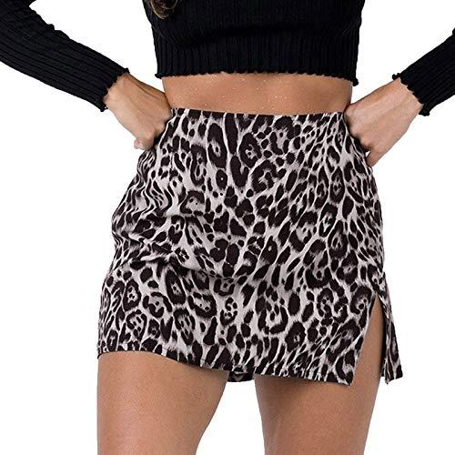 TUDUZ Falda Estampada De Leopardo para Mujer Minifalda LáPiz Bodycon Hip Falda UniformeEnaguasMicrofibra(Q Multicolor,L)