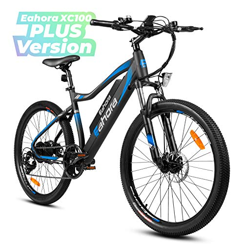 Eahora XC100 26Inch Electric Mountain Bicycle 48V 350W Cruise Control 10.4Ah Removable Battery Urban Commuter Electric Bike for Adults Power Regeneration E-Bike Color LCD Display 7 Speed, Blue