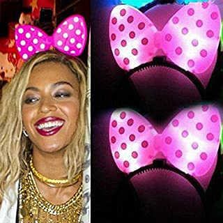 (Ship from USA) Beyonce Minnie Mouse Light-Up Pink Headband XO Polka Dot LED Flashing Ears *JFO468UH13036