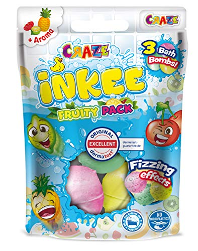 CRAZE Back INKEE Fruity Pack DREI Badekugeln mit 3 verschiedenen Frucht-Düften Kirsche Limette und Ananas 25871, Badespaß für Kinder
