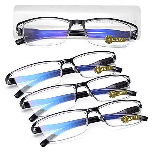 LUFF Lectores ultraligeros portátiles 4 pares de gafas de lectura anti-rayos azules