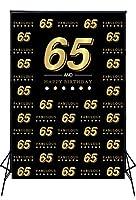 Muzi 5×7フィート Happy 40歳誕生日テーマ背景 ブラックウォール ゴールデンワード カスタマイズされたステップアンドリピート 40歳誕生日パーティー写真背景 バナー フォトコール W-2033