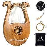 AKLOT Lyre Harp, 16 cordes en métal Selle en os Okoume Lye Harpe avec clé de réglage et housse noire
