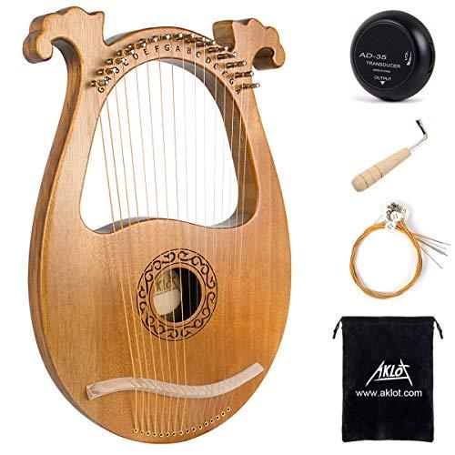 AKLOT Arpa lira Sillín de hueso de 16 cuerdas de metal Okoume Lye Harp con llave de afinación Pick UP y funda negra
