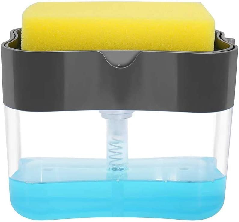 Aeakey Dispensador de bomba de jabón y soporte de esponja para fregadero de cocina, dispensador de jabón de lavado, 13 onzas (gris)
