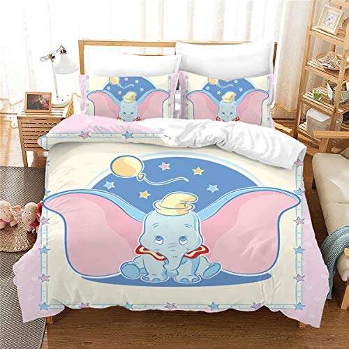 Meiju Duvet Cover Set 3 pieces for Single Double King Bed, 3D Printed Microfiber Bedding Set Duvet Cover Bedroom Duvet Set with Duvet Cover and Pillowcases (Dumbo 7,Double - 200x200cm)
