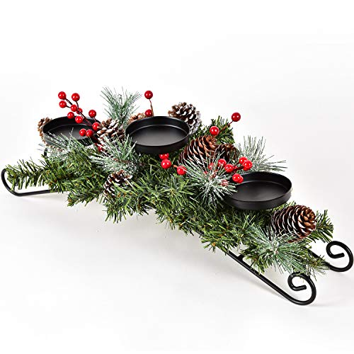 DearHouse Christmas Candle Holder Centerpiece, Pine Cones and Red Berry Table Centerpiece with 3 Candle Holders Table Accent Lighted Centerpiece for Festival Home Decoration 20' x 10' x 6'(L x W x H)