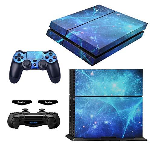 eXtremeRate Aufkleber für PS4,Sticker Aufkleber Skin Decal Folie Faceplates Kleberfolie für Playstation 4 PS4 Konsole&2 Controller und 2 Lightbar Sticker(Blaue Galaxis)