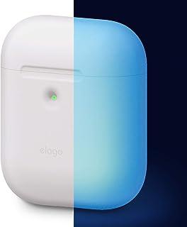 elago A2 AirPods Silikonhülle Case Hülle Kompatibel mit Apple AirPods 2 mit kabellosem Ladecase LED an der Frontseite Sichtbar, Unterstützt Kabelloses Laden, Stoßfest(ohne Karabiner, Nachtglühen Blau)