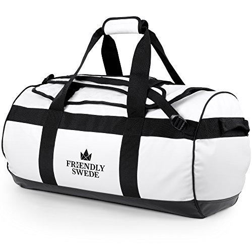 The Friendly Swede Wasserfeste Reisetasche Duffle Bag Rucksack - 30L / 60L / 90L - Seesack, Sporttasche Duffel Dry Bag mit Rucksackfunktion - SANDHAMN (Weiß, 60L)