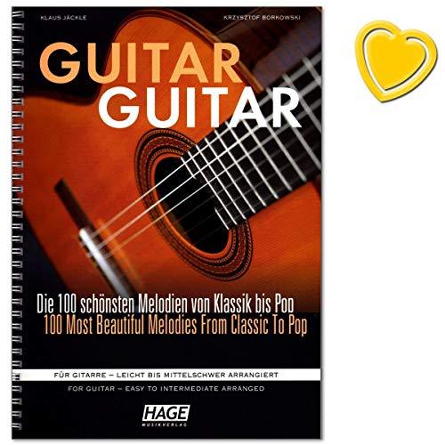 Guitar Gitar - verzameling van 100 mooiste en populairste melodieën uit klassiek, liedjes uit de hele wereld, Evergreens, pop-/rock-hits en filmmusiek - met notenklem EH3833 9783866263987